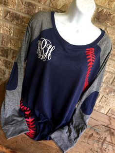 Baseball Laces T-Shirt, with monogram, baseball mom shirt, Long Sleeve preppy Tee-front laces and sleeves by MamaGlitter on Etsy https://www.etsy.com/listing/465742682/baseball-laces-t-shirt-with-monogram