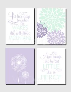 Girl Nursery Art, Kids Wall Art, Mint, Lavender, Toddler Girl Room, Let Her Sleep, And though she be but little, Set of 4 Prints or Canvas by vtdesigns on Etsy