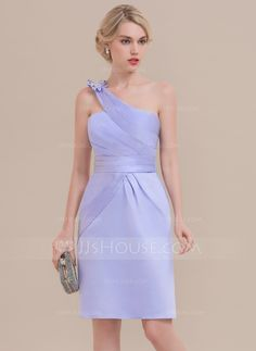 Sheath Column One-Shoulder Knee-Length Satin Cocktail Dress With Ruffle  Bow(s) (016126103) 375d455d24f9