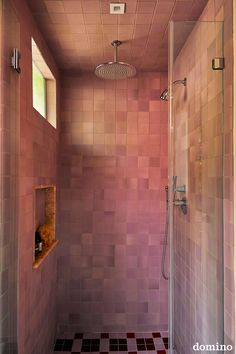 blush zellige tile shower