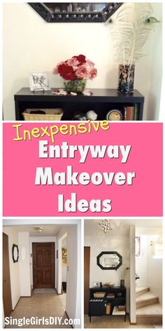 We turned our blah and boring entryway into something with more style and personality. These easy tricks made the foyer more welcoming and beautiful. #homemakeover #budgetmakeover #diymakeover Hacks Diy, Home Hacks, Foyer, Entryway, Small Entry, Easy Tricks, Homemade Cleaning Products, Thrifty Decor, Diy For Girls