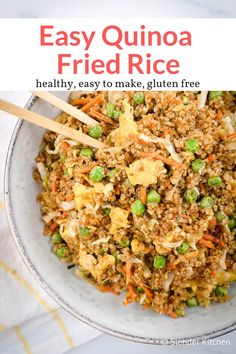 Quinoa Fried Rice - Slender Kitchen - This fifteen minute quinoa fried rice makes a delicious meal or side dish. Packed with veggies and bursting with flavor. Perfect for any Asian inspired meal! Slender Kitchen, Vegetarian Recipes Easy, Cooking Recipes, Healthy Recipes, Cooking Tips, Cleaning Recipes, Avocado Recipes, Slow Cooking, Bread Recipes