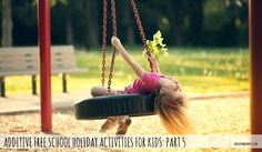 Young girl swinging on a tire swing on the playground Rubber Mulch, Girl Swinging, Holiday Activities For Kids, Horse Arena, Park Playground, Children Playground, Senior Home Care, School Holidays, Child Development