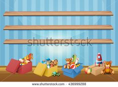 Empty shelves and toys on the floor illustration