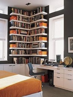 Bookshelves... on a desk? Iiiinteresting.