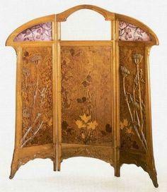 Jacques Gruber Art Nouveau Furniture, Antique Furniture, Muebles Art Deco, Glass Room Divider, Aesthetic Movement, Victorian Art, Pallet Art, Art Deco Design, Creative Decor