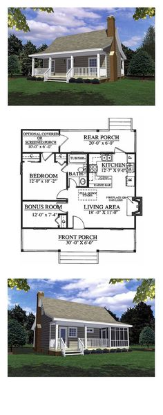 House Plan 59039 - Cottage, Country, Southern Style House Plan with 600 Sq Ft, 1 Bed, 1 Bath Cheap House Plans, Cheap Houses To Build, Best House Plans, Country House Plans, Country Style Homes, Small House Plans, House Floor Plans, Small Country Houses, 1 Bedroom House Plans