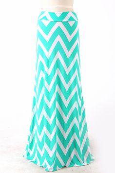 Mint Chevron Maxi Skirt $39