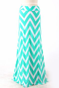 Mint Chevron Maxi Skirt