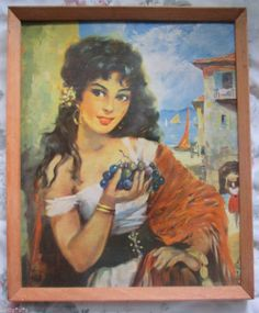 VTG framed picture of Spanish / Mexican/ greek? beautiful girl holding grapes