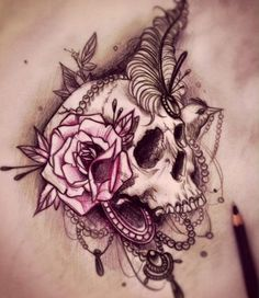 so awesome, victorian skull, rose and with feather tattoo