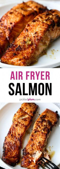Ginger Garlic Air Fryer Salmon - Pickled Plum Food And Drinks - - Marinated in a simple ginger garlic sauce, these salmon fillets are crispy on the outside and perfectly moist on the inside. Air Fryer Recipes Breakfast, Air Fryer Oven Recipes, Air Fryer Dinner Recipes, Air Fryer Recipes Salmon, Air Fryer Rotisserie Recipes, Picnic Recipes, Picnic Ideas, Picnic Foods, Fish Recipes