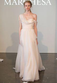 Blush One-Shoulder Grecian Silk Chiffon Wedding Dress | Marchesa Spring 2015 | Kurt Wilberding | The Knot Blog