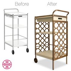 O'verlays Fiona Kit for Ikea Bygel Utility Cart creates a great bar cart. With a can of gold spray paint and epoxy you will be ready to entertain in style at your next cocktail party.