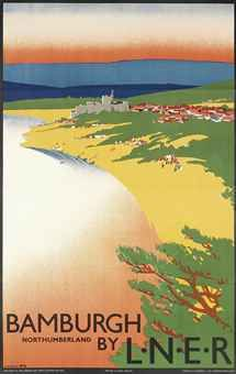 Bamburgh, Northumberland by LNER - 1930 - (Tom Purvis) Posters Uk, Train Posters, Railway Posters, British Travel, British Seaside, Castle Painting, Tourism Poster, Travel Images, Vintage Travel Posters