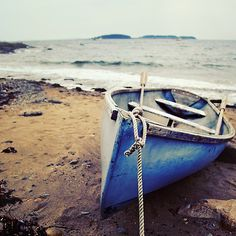 """""""Blue Boat - Coastal Maine"""" Photographic Prints by Sarah Beard Buckley Blue Boat, Photo Journal, Picture Collection, Beach Photography, Beach Photos, Coastal Living, Photographic Prints, Beautiful Images, New England"""