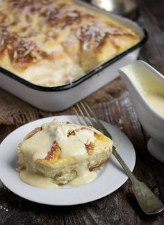Rhubarb Bread Pudding with Creme Anglaise - Seasons and Suppers