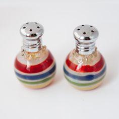 Multi Color Stripes Glass Salt & Pepper Shaker Set by Glass Act
