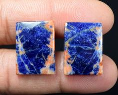 26.70  CTS. 100 % NATURAL UNIQUE  PAIR OF  MULTI SODALITE  CUSHION  CABS GEMS