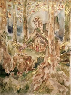The Woodland Folk Original Painting Fairy Folklore Fantasy Fairytale Watercolor Troll Pixie Gnome Faerie Fae Sprite Oak Golden Huntsman Art Spring Wildflowers, How To Stay Awake, Ink Painting, Nymph, Watercolor And Ink, Faeries, Pagan, Wild Flowers, Woodland