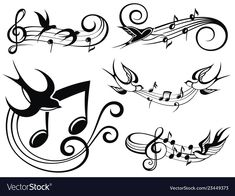 Musical set with swallows Royalty Free Vector Image Sketch Tattoo Design, Music Tattoo Designs, Music Tattoos, Tattoo Sketches, Body Art Tattoos, Sketch Design, Tattoo Musica, Music Notes Art, Music Music