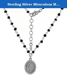 Sterling Silver Miraculous Medal Necklace Faceted Black Spinel Beads & CZ Rhodium, 16-17 inch. Shining like the rays of the sun is heavenly Virgin Mary in the front and Pope John Paul II's coat of arms at the back of the medal measuring 15x12mm in oval shape enclosed with brilliant cut cubic zirconia stones contrasted on a shiny, black bead bracelet. Comes in 7 inches long with an inch extension. Ideal symbolism of faith and devotion to Mary that through her intercession, special graces…