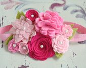 Felt Flower Headband Garland Headband In Pretty Pinks