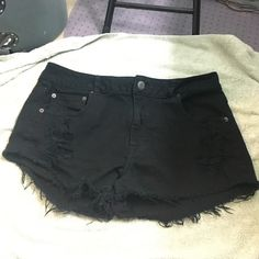 American Eagle black stretch shorts Great condition & super cute! Size 14 in woman's. (Would best fit size large-XL) feel free to make an offer! American Eagle Outfitters Shorts Jean Shorts
