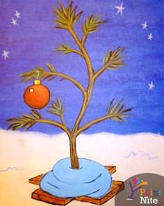 Join us for a Paint Nite event Tue Dec 2015 at 3610 Center St NE Salem, OR. Purchase your tickets online to reserve a fun night out! Charlie Brown Tree, Charlie Brown Christmas Tree, Peanuts Christmas, Merry Christmas, Christmas Paintings On Canvas, Christmas Canvas, Canvas Paintings, Christmas Artwork, Watercolor Paintings