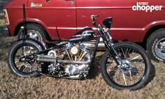 "Chip Hancock's '53 Panhead. 23"" front, 18"" rear, baker 6 in a 4, 88"" stroker pan, '53 frame, '48 front end. Chip built it up from a total basket case."