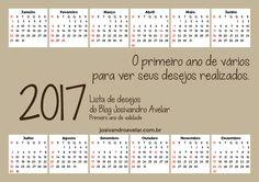 CALENDÁRIO 2017 LISTA DE DESEJOS – Blog Josivandro Avelar