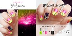 The Party Starts Now!So what if it's the middle of the week? It's never too early to be awesome. Today's nail art looks were inspired by the fantastical late night raves happening every night of the week all over the world!  Professional nail artist Chelsea King created this nail art kit inspired by the bright neons and blacklights of the LA electronica scene.