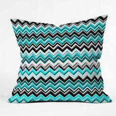 Madart Inc. Turquoise Black White Chevron Throw Pillow | DENY Designs Home Accessories
