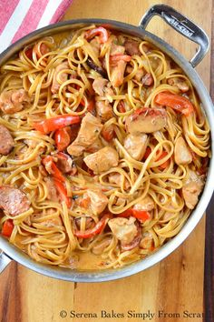 One Pot Cajun Chicken Pasta | Serena Bakes Simply From Scratch Cajun Chicken And Sausage Pasta Recipe, Cajun Shrimp Recipes, Easy Chicken Dinner Recipes, Skillet Chicken, Skillet Meals, Ground Beef Pasta, Pasta Dishes, Cooking Recipes, Noodle Casserole