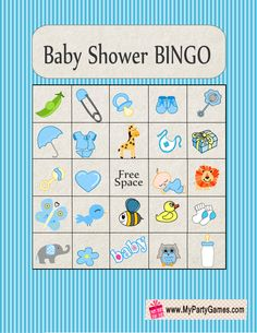 Free Printable Baby Shower Picture Bingo Game Cards in Blue Color