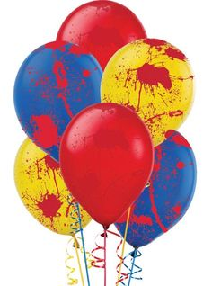 Our Creepy Carnival Blood Splatter Balloons are perfect for your horror circus party theme! These latex blood splatter balloons come in red, yellow, and blue. Clown Party, Halloween Clown, Freakshow Halloween, Halloween Office, Halloween Karneval, Circus Theme Party, Halloween Haunted Houses, Halloween Party Decor, Halloween Themes