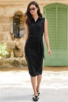 Buy Black Utility Tie Waist Dress from the Next UK online shop