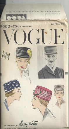VTG 1956 Vogue 9002 Sewing Pattern Sally Victor Millinery Pill Box Hat UNCUT  FF #Vogue