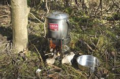 Stainless steel pots with an inner bowl, lid and folding loop handle with hanging notch. Used as billy cans by survival trainers, bushcraft enthusiasts, backpackers, etc,. Light strong and easy to clean.