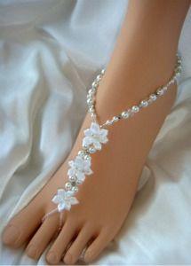 Satin Flower Wedding Sandals Barefoot Sandals