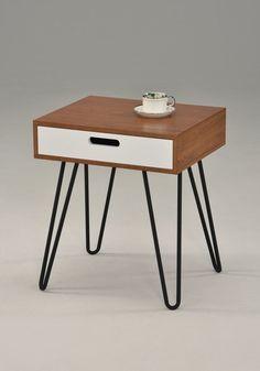 Modern Nightstand End Table Bedroom Black White 1 Drawer Metal Legs Mid Century | eBay