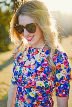 Abstract floral print dress