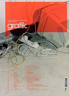 1 of 3 masthead designs for Grafik magazine. I have always found their covers interesting. The transparent coloured speech bubble takes up a lot of space, but is effective.