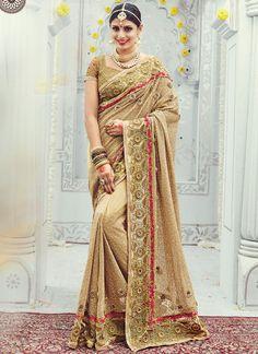 Buy Gripping Patch Border Work Net Classic Designer Saree, Online  #sareefashion #fashionweek