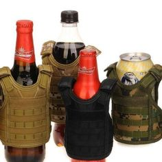 Beer Vest Mini Tactic Military Vest For Beer Bottle Miniature Wine Bottle Cover Vest Beverage Cooler Camping Hiking Accessories Volume Large Sports & Entertainment