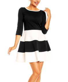Love this Black & Ecru Color Block A-Line Dress by Karen on #zulily! #zulilyfinds