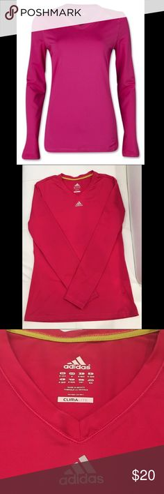 Adidas CLIMALITE top Long sleeve, v-neck, dark pink top by Adidas. First pic is just to show fit. The color and actual top I'm selling is in the second and third pic. BNWOT. No flaws! Adidas Tops Tees - Long Sleeve