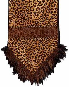 This leopard chenille table runner accented with feathers and eyelash trim is one of my favorites. By Reilly-Chance Collection Leopard Bedroom, Leopard Decor, Luxury Curtains, Luxury Bedding, Animal Print Decor, Animal Prints, Zebra Print Bedding, Tuscan Decorating, Decorating Ideas
