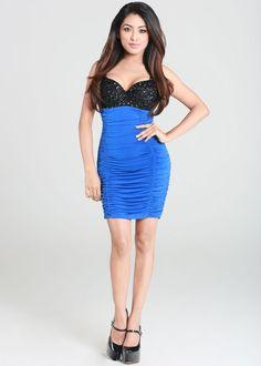 Cute blue ruched dress