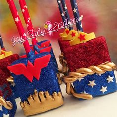Wonder Woman chocolate covered RK TREATS IG:Jayspartycreations